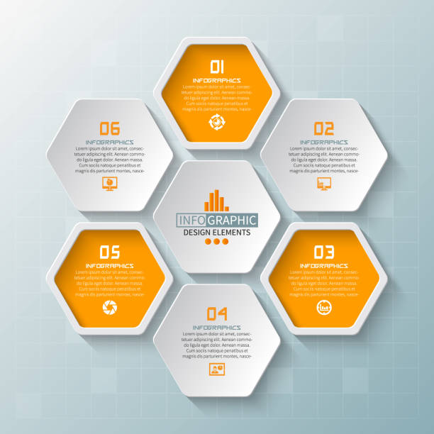 Abstract 3D Paper Infographics vector abstract 3d paper infographic elements.Hexagon infographics.Honeycomb design hexagon stock illustrations