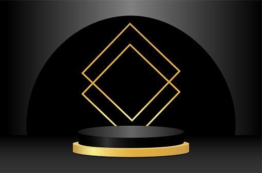 Abstract 3d podium with geometric forms. Black scene, dark background, golden decor. Product presentation, mockup. Vector illustration.