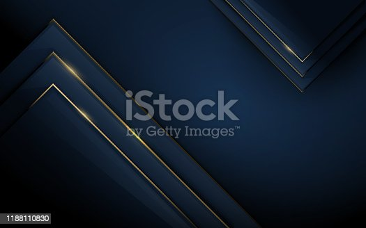 istock Abstract 3d polygonal pattern luxury dark blue with gold background. Vector illustration 1188110830