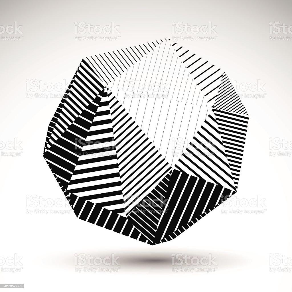 Abstract 3D polygonal vector contrast figure, art sphere vector art illustration