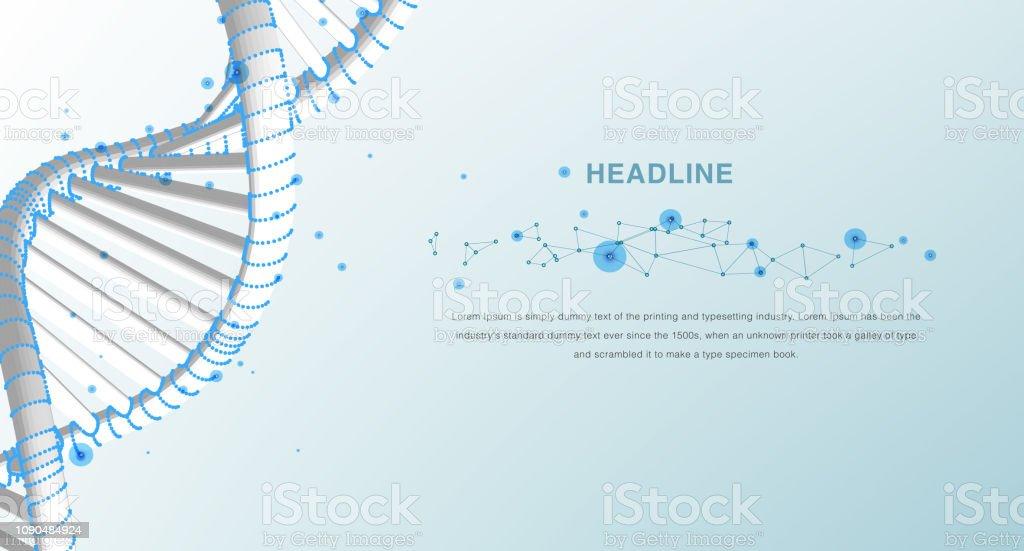 Ilustración De Dna Resumen Estructura Metálica Poligonal Dna