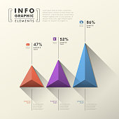 flat style vector abstract pyramid chart infographic elements