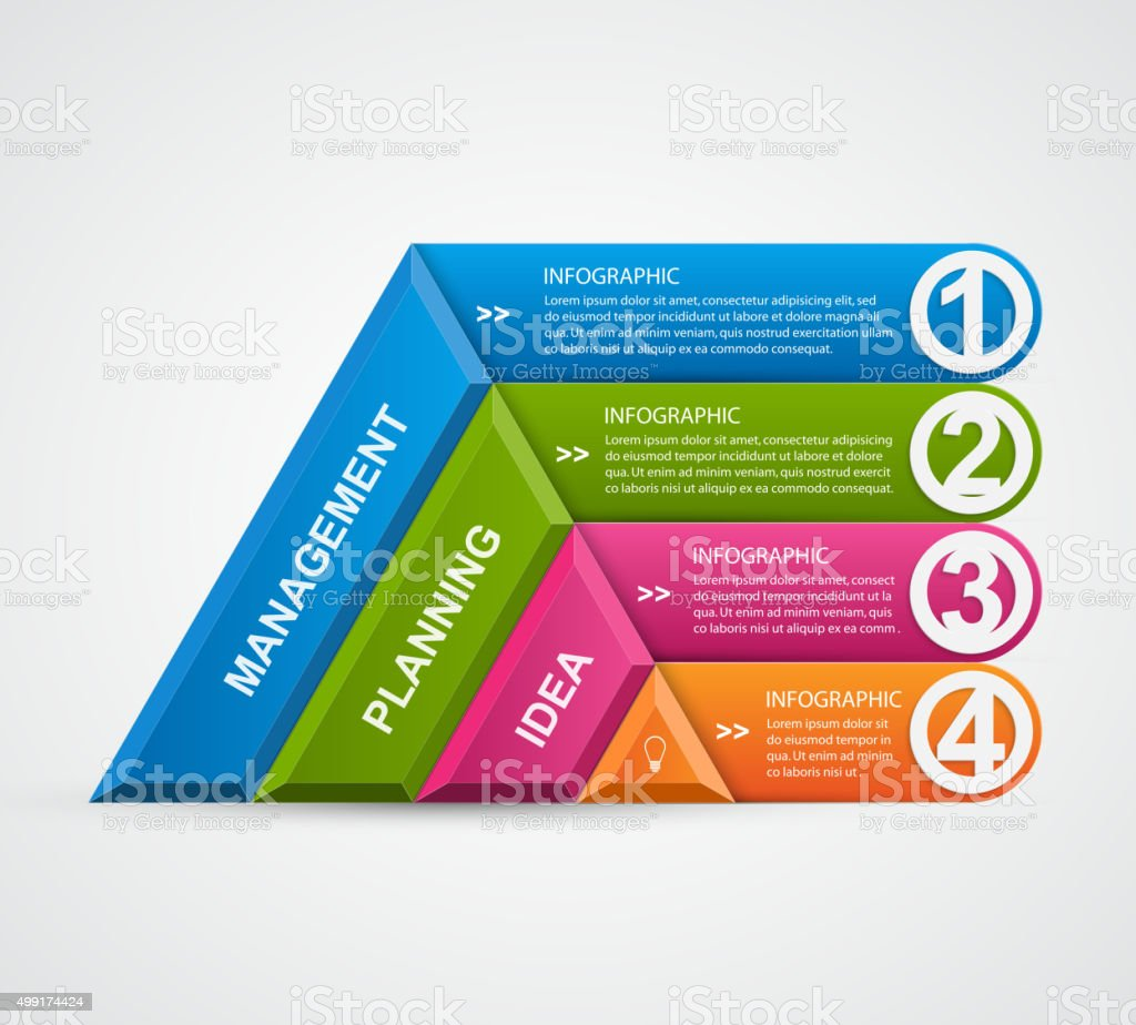 abstract 3d pyramid options infographics template stock vector art