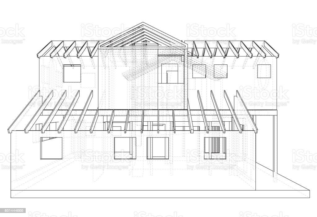 Abstrakte 3drender Der Gebäudestruktur Drahtmodell Baugrafik ...