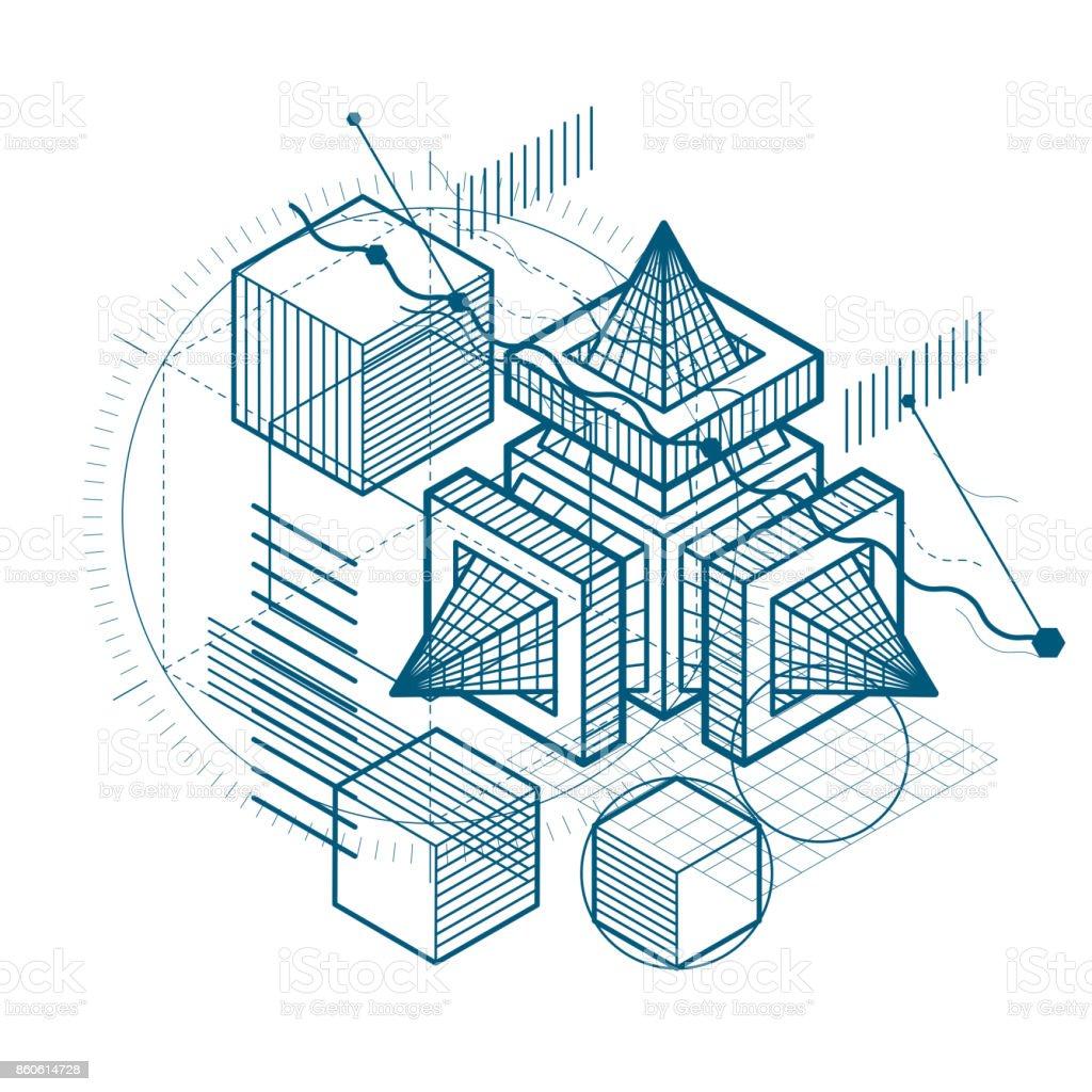 Composición de formas 3d abstracta, vector fondo isométrica. Composición de cubos, hexágonos, cuadrados, rectángulos y diferentes elementos abstractos. - ilustración de arte vectorial