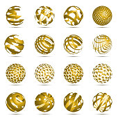 Abstract 3d sphere circle symbols icon set for vector graphic design concept
