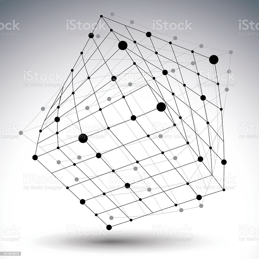 Abstract 3D structure polygonal vector network figure, contrast vector art illustration