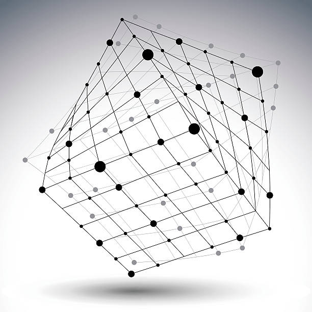 abstract 3d structure polygonal vector network figure, contrast - wire frame model stock illustrations