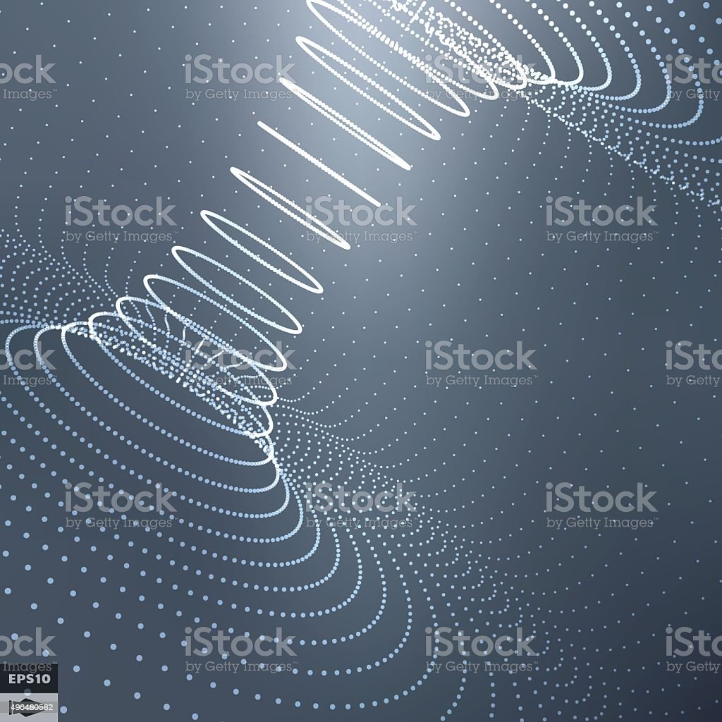 Abstract 3d Surface Looks Like Funnel. Perspective Grid Background Texture. vector art illustration