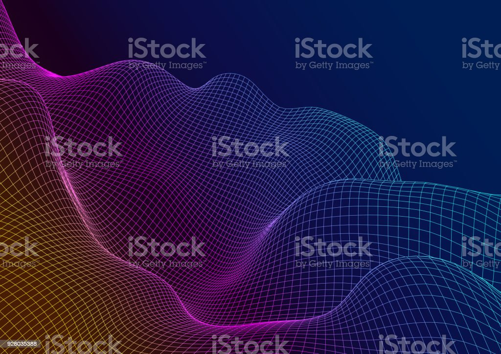 Abstract 3D surface. The illusion of distortion of space. royalty-free abstract 3d surface the illusion of distortion of space stock illustration - download image now