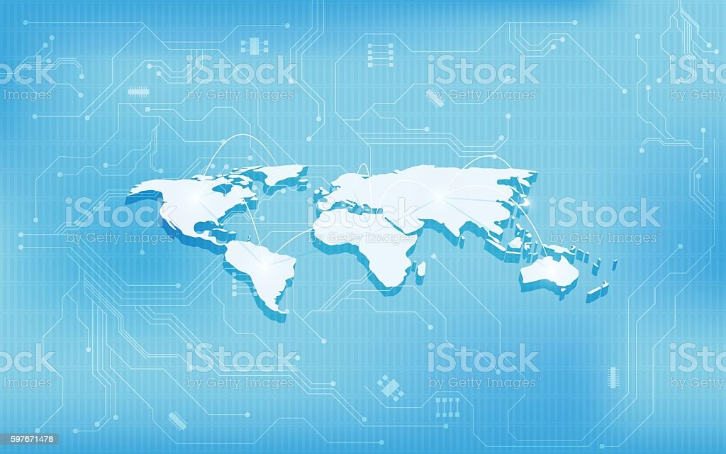 Abstract 3d world map technology digital circuit design concept abstract 3d world map technology digital circuit design concept background royalty free abstract 3d world gumiabroncs Image collections