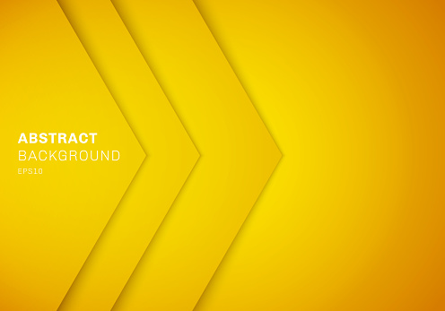 Abstract 3D yellow triangle with overlap paper layer gradient color with copy space background.