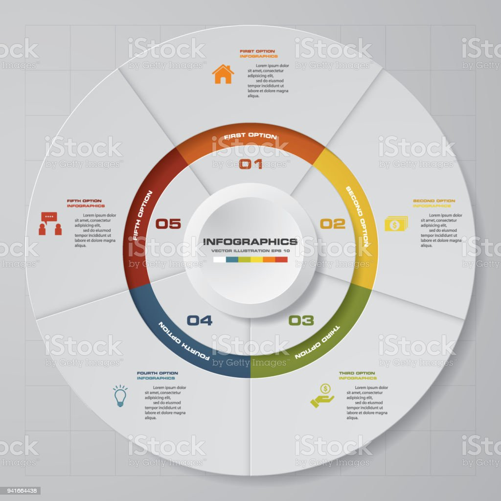 abstract 5 steps modern pie chart infographics elementsvector