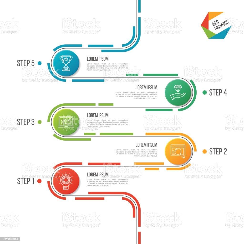 抽象的な 5 つのステップの道タイムライン インフォ グラフィック