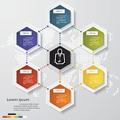 Abstract 6 steps infographics elements.