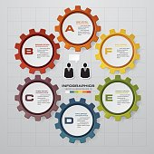 Abstract 6 steps infographics elements.Vector illustration.