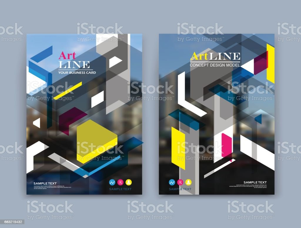 Abstract a4 brochure cover design. Art text frame surface. Patch title sheet model. Creative vector front page. Ad form texture. Yellow, pink, blue line, triangle, square figure icon. Flyer fiber font abstract a4 brochure cover design art text frame surface patch title sheet model creative vector front page ad form texture yellow pink blue line triangle square figure icon flyer fiber font - arte vetorial de stock e mais imagens de abstrato royalty-free
