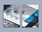 Abstract a4 brochure cover design. Text frame surface. Urban city view font. Title sheet model set. Modern vector front page. Brand logo. Firm banner texture. Blue triangle figure icon. Ad flyer art