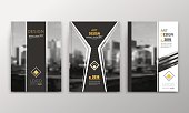 Abstract a4 brochure cover design. Text frame surface stripe. Urban city view font. Title sheet model. Creative vector front page. Ad banner texture. Yellow lozenge logo figure icon. Flyer fiber set