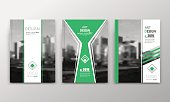Abstract a4 brochure cover design. Text frame surface. Urban city view font. Green title sheet model. Creative vector front page. Ad banner texture. Yellow lozenge icon figure icon. Flyer fiber set