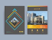 Abstract a4 brochure cover design. Text frame surface. Urban city view font. Black title sheet model. Vector front page. Ad banner texture. Blue square figure, yellow horizontal line icon. Flyer fiber