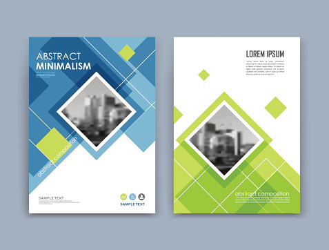 Abstract a4 brochure cover design. Text frame surface. Urban city view font. Blue, green, white title sheet model. Creative vector front page. Ad banner texture. Patch lozenge figure icon. Flyer fiber