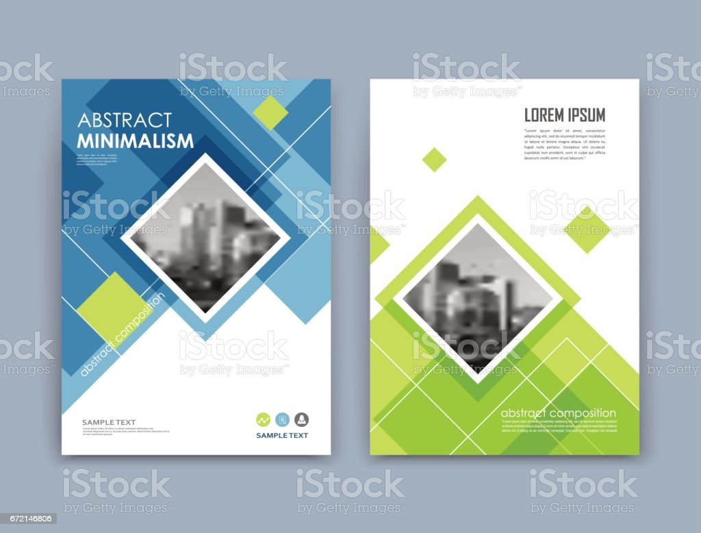 Abstract a4 brochure cover design. Text frame surface. Urban city view font. Blue, green, white title sheet model. Creative vector front page. Ad banner texture. Patch lozenge figure icon. Flyer fiber vector art illustration