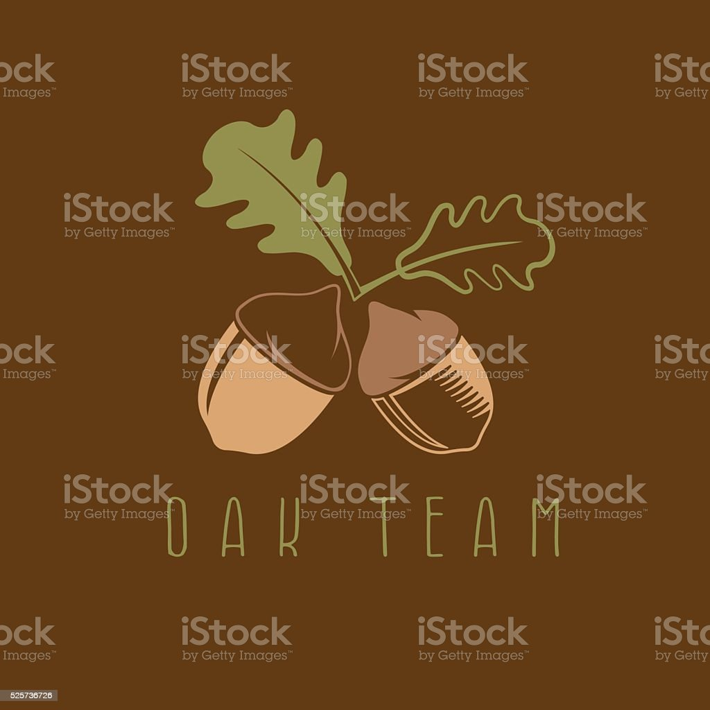 abstract acorns and leaves vector design template vector art illustration