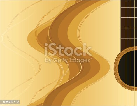 Stylized, abstract acoustic guitar design element or background in shades of tan, brown, and deep burgundy. Plenty of copy space.