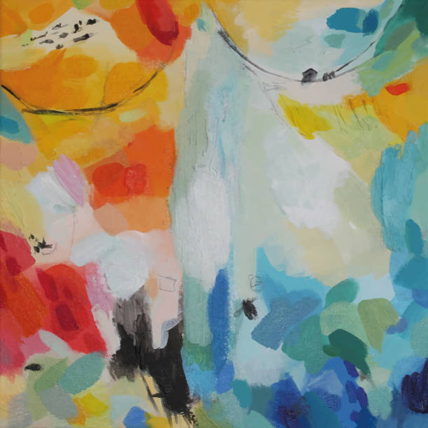 abstract acrylic painting excitement - artsy backgrounds stock illustrations