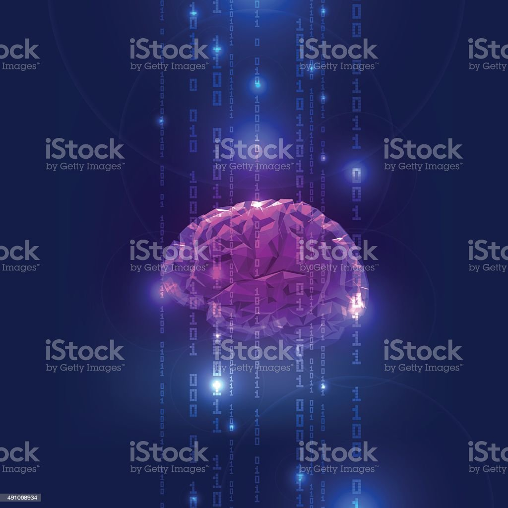 Abstract Activity of Human Brain with Binary Code Stream vector art illustration