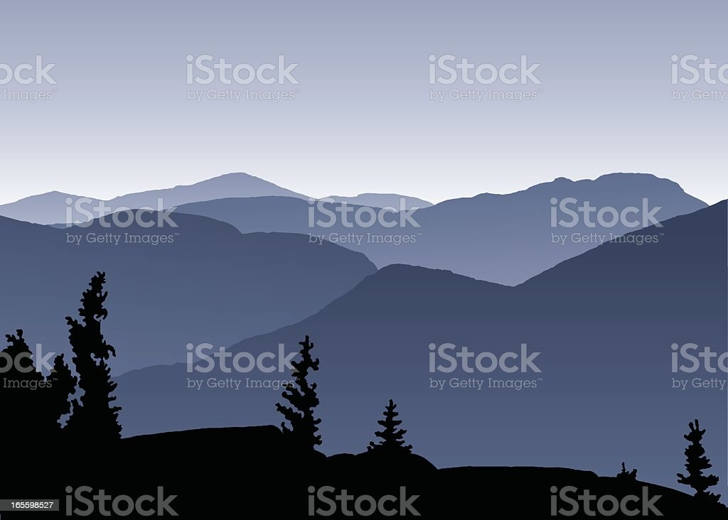 Abstract Adirondacks in shades of blue with black trees vector art illustration