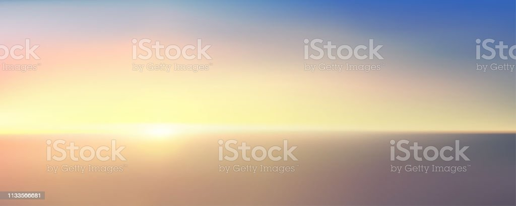 Abstract aerial panoramic view of sunrise over ocean. Nothing but blue bright sky and deep dark water. Beautiful serene scene. Romantic Vector illustration. EPS 10 vector art illustration