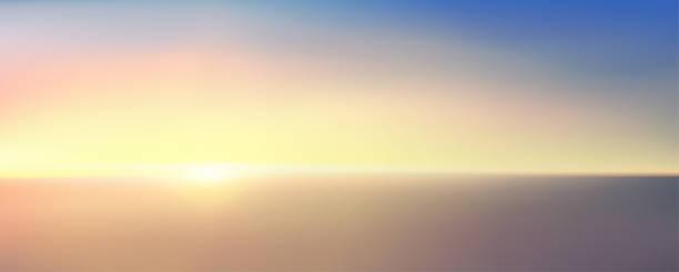 海の上の日の出の抽象的な空中パノラマビュー。青い明るい空と深い濃い水しかありません。美しい穏やかなシーン。ロマンチックなベクトルのイラスト。eps 10 - 朝日点のイラスト素材/クリップアート素材/マンガ素材/アイコン素材