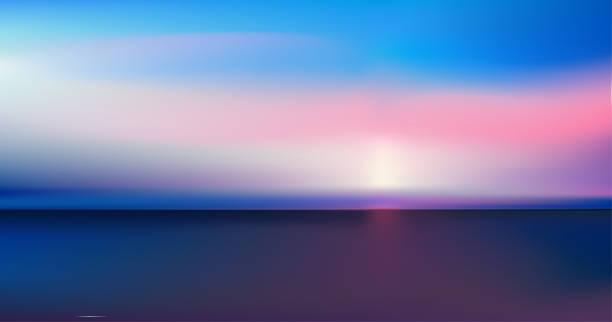 ilustrações de stock, clip art, desenhos animados e ícones de abstract aerial panoramic view of sunrise over ocean. nothing but blue bright sky and deep dark water. beautiful serene scene. romantic vector illustration. eps 10 - tranquilidade