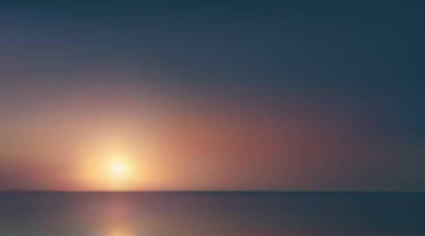 abstrakcyjny panoramiczny widok na wschód słońca nad oceanem. nic tylko błękitne jasne niebo i głęboka ciemna woda. piękna spokojna scena. romantyczna ilustracja wektorowa. eps 10 - horyzont stock illustrations