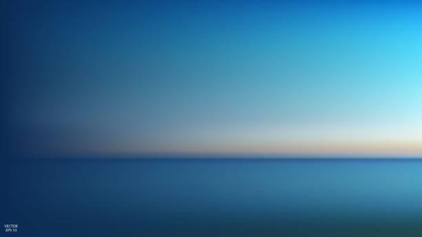 abstrakcyjny panoramiczny widok na wschód słońca nad oceanem. nic tylko niebo i woda. piękna spokojna scena. ilustracja wektorowa - horyzont stock illustrations