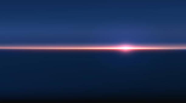 bildbanksillustrationer, clip art samt tecknat material och ikoner med abstrakt antenn panorama utsikt över sol uppgången över havet. inget annat än himmel och vatten. vacker fridfull scen. vektor illustration - horisont