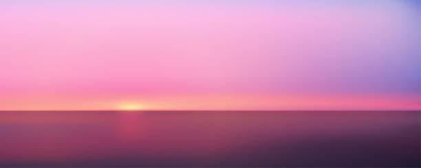 abstrakcyjny panoramiczny widok z lotu ptaka na zachód słońca nad oceanem. nic tylko niebo i woda. piękna spokojna scena. ilustracja wektorowa - zachód słońca stock illustrations