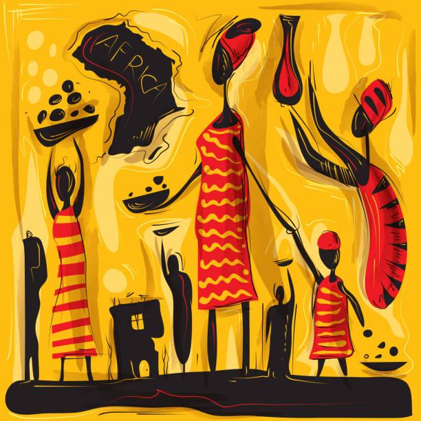 illustrazioni stock, clip art, cartoni animati e icone di tendenza di arte astratto africana, africa safari, arte vettoriale vita tribale () - bambine africa