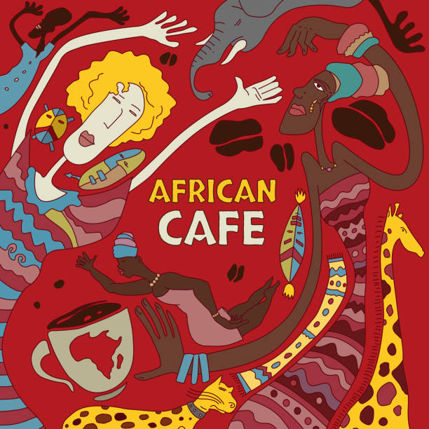 abstrakte afrikanische cafe kunst (vektor-kunst) - giraffenkostüm stock-grafiken, -clipart, -cartoons und -symbole