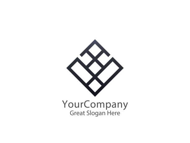 abstract alphabet letter v logo icon. floor tile wall block sign symbol. - wyrób ceramiczny stock illustrations