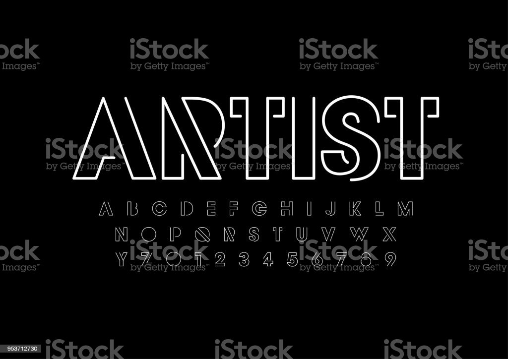 Abstract alphabet vector art illustration