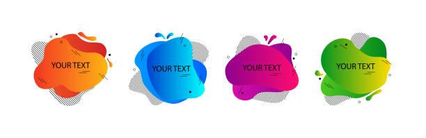 ilustrações de stock, clip art, desenhos animados e ícones de abstract amoeba banners, fluid shapes badges. colorful set of modern geometric background, colored gradient, space for your text. vector - amiba