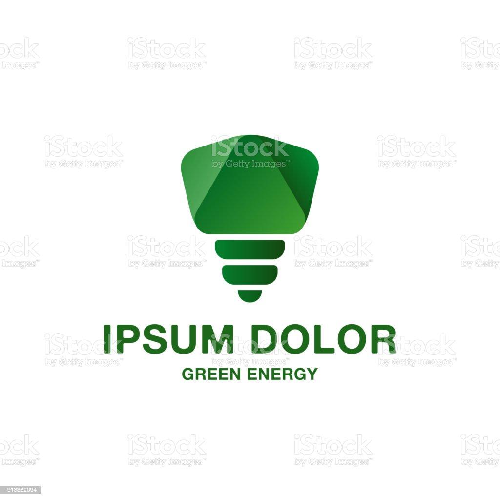 Icne Dampoule Feu Vert Abstraites Et Minimaliste Ide Emblme De Pure Nergie Verte