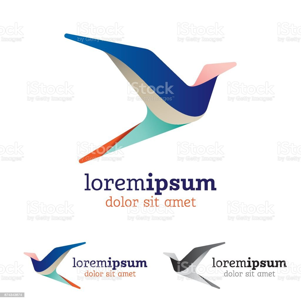Abstract and stylized flying bird emblem vector art illustration