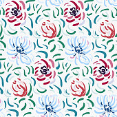 Seamless pattern of blue and red anemone flowers in post-impressionism style