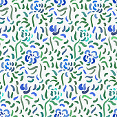 Seamless pattern of blue anemone flowers in post-impressionism style