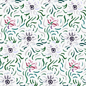 Seamless pattern of pale pink and white anemone flowers in post-impressionism style