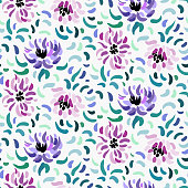 Seamless pattern of purple and pale pink anemone flowers in post-impressionism style